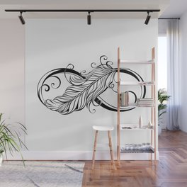 Infinity Symbol with Feather Wall Mural
