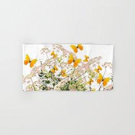 WHITE ART GARDEN ART OF YELLOW BUTTERFLIES Hand & Bath Towel
