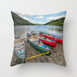 Four Canoes Throw Pillow