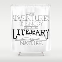 literary Shower Curtains featuring Literary Adventures by Drop and Give Me Nerdy
