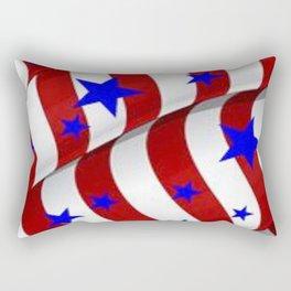 PATRIOTIC AMERICANA JULY 4TH BLUE STARS DECORATIVE ART Rectangular Pillow
