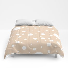 Mixed Polka Dots - White on Pastel Brown Comforters
