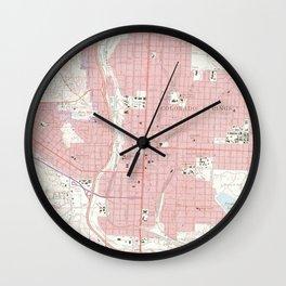 Vintage Map of Colorado Springs CO (1961) 2 Wall Clock