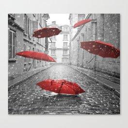 red umbrellas Canvas Print