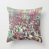 tetris Throw Pillows featuring Pier Tetris by Ivan Guerrero