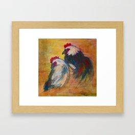 Rooster and Hen Leghorns Framed Art Print