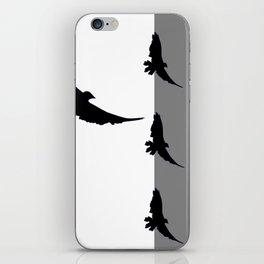 FLYING BLACK CROWS GREY-BLACK ART iPhone Skin