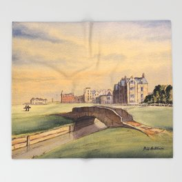 St Andrews Golf Course Scotland 18th Hole Throw Blanket