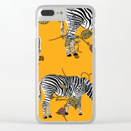 Mellow Yellow African Zebras - Bagaceous Clear iPhone Case