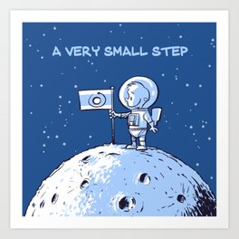 Little Astronaut - Very Small Step (Captioned) Art Print