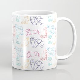 Colourful Tibetan Spaniel Minimalist Outline Pattern Coffee Mug