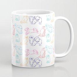 Colourful Tibetan Spaniel Minimalist Outline Pattern Coffee Mug