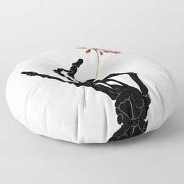 Skeleton Hand with Flower Floor Pillow
