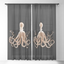Octopus sea nautical beach coastal Sheer Curtain