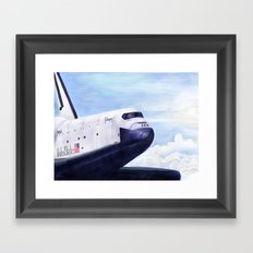 Enterprise Through The Clouds - Drawing Framed Art Print