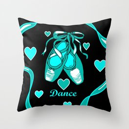 Love to Dance Teal Ballet Shoes Throw Pillow