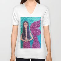 fitzgerald V-neck T-shirts featuring Cordelia Fitzgerald the Mermaid by inara77