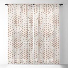 Cavern Clay SW 7701 Polka Dot Scallop Fan Pattern on Creamy Off White SW7012 Sheer Curtain