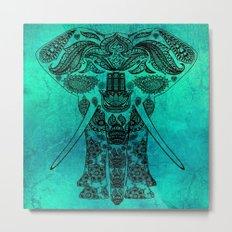 Ornate Patterned Elephant Metal Print