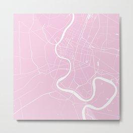 Bangkok Thailand Minimal Street Map - Pastel Pink and White Metal Print
