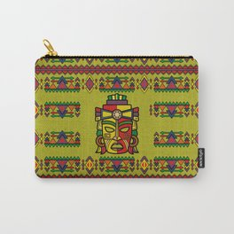 Colorful Aztec Inca Mayan Mask Carry-All Pouch