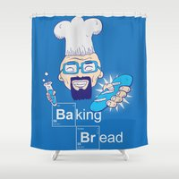 bread Shower Curtains featuring Baking Bread by DarkChoocoolat