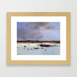 Bela von Spanyi Evening Over a River Landscape Framed Art Print