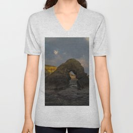 la mine france aerial drone shot cliff people sunset clouds goldenhour rock Unisex V-Neck