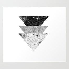 Night marble triangles Art Print