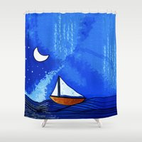 sailing Shower Curtains featuring Sailing by Brontosaurus