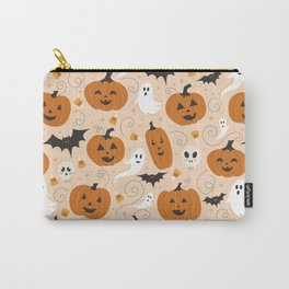 Pumpkin Party on Beige Carry-All Pouch