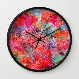 Roanoke map Virginia painting 2 Wall Clock