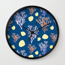 Corals & Shells Seamless Pattern with Deep Blue Background Wall Clock