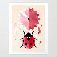 Ladybug and Daisy Art Print