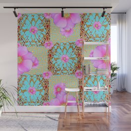 Delicate French Style Aqua Pink Wild Rose Gold Jewelry Abstract Wall Mural