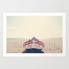 Nazare fishing boat Art Print