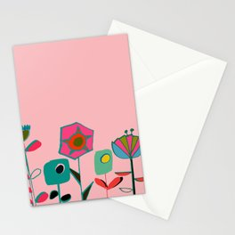 Mid century flowers pink Stationery Cards