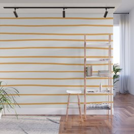 VA Bright Marigold - Spring Squash - Pure Joy - Just Ducky Hand Drawn Horizontal Lines on White Wall Mural