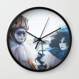 Couple of carnival masks in Venice Wall Clock