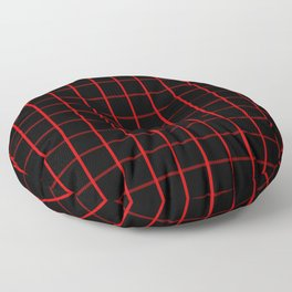 Large Red on Black Grid Pattern | Floor Pillow