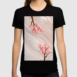 pink marmor with japanese cherry blossom T-shirt