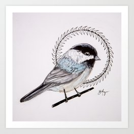 Black Capped Chickadee Art Print