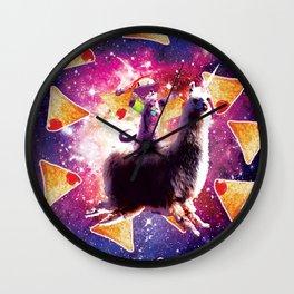Rave Space Cat On Llama Unicorn - Nachos Wall Clock