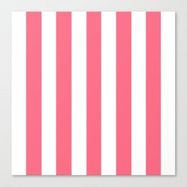 Wild watermelon pink - solid color - white vertical lines pattern Canvas Print