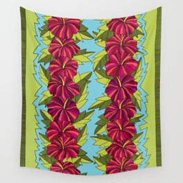 Hibiscus Rows Pattern Wall Tapestry