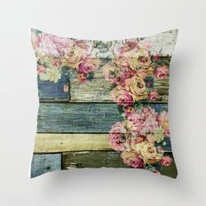 vintage roses on wood Throw Pillow