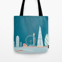travel poster Tote Bags featuring Vintage London Travel Poster by Travel Poster Co.