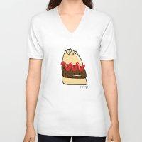 burger V-neck T-shirts featuring Burger  by shoobox illustrations