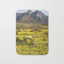 Poppies abloom along the Organ Mountains in New Mexico Bath Mat