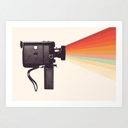 Movie Camera Rainbow Art Print
